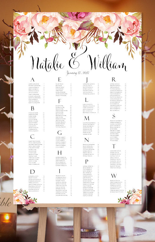 Wedding seating chart poster romantic blossoms watercolor floral