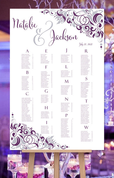 Wedding Seating Chart Poster Gianna Eggplant Purple Silver