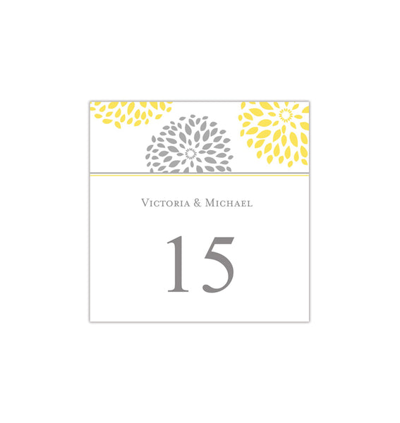 Printable Table Number Template Floral Petals Yellow Gray Tent DIY Wedding Templates