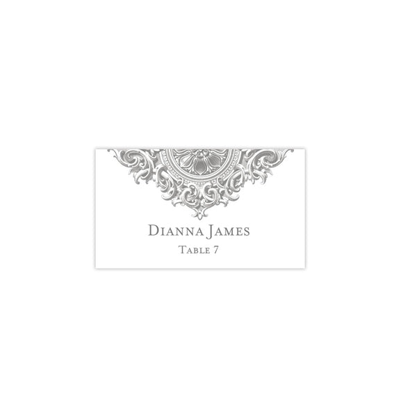 Wedding Seating Card Vintage Gray Tent Printable DIY Template