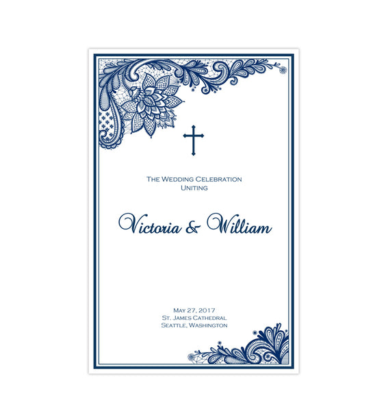 Catholic Church Wedding Program Vintage Lace Navy Blue Printable DIY