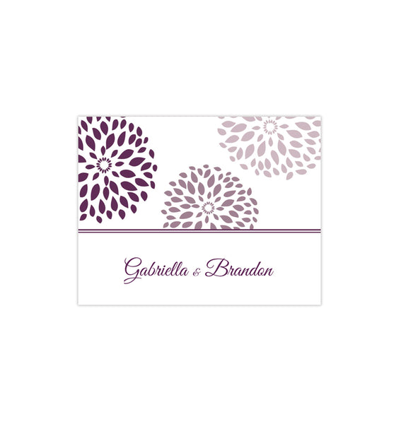 Wedding Thank You Card Floral Petals Purple Plum Printable DIY Template