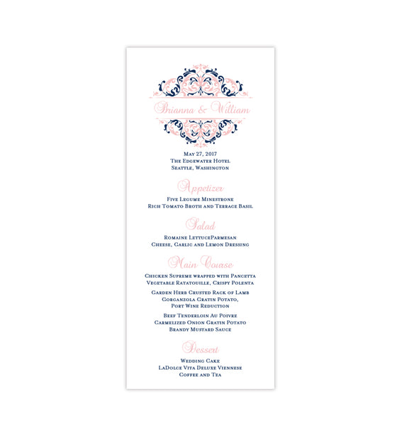 Wedding Menu Card Grace Blush Pink Navy Blue Tea Length Printable DIY Templates