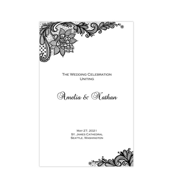 Wedding Program Template Vintage Lace Black White Printable DIY
