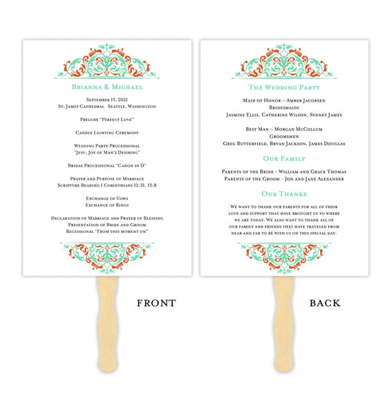 Wedding Program Fan Grace Aquamarine Orange Printable DIY Template