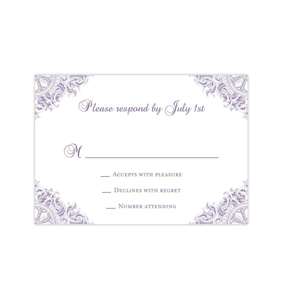 Wedding Response Cards Vintage Purple Lavender Printable DIY Templates