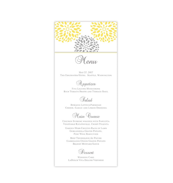 Wedding Menu Card Floral Petals Yellow Gray Tea Length Printable Templates