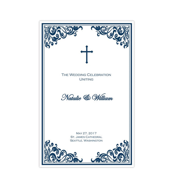 Catholic Church Wedding Program Faith Navy Blue Printable DIY