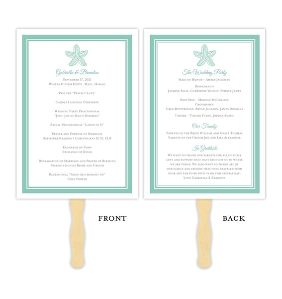 Wedding Program Fan Beach Starfish Seafoam Green Printable DIY Templates