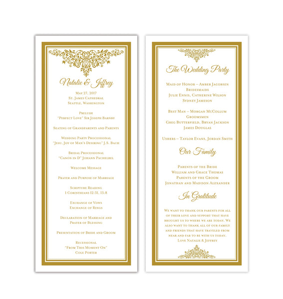 Slim Wedding Program Anna Maria Gold Printable DIY