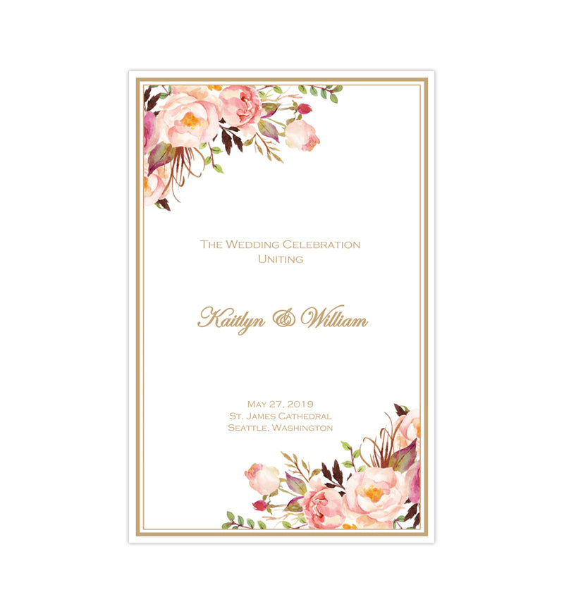 image relating to Printable Wedding Programs titled Marriage Application Template Passionate Blossoms Do it yourself Printable