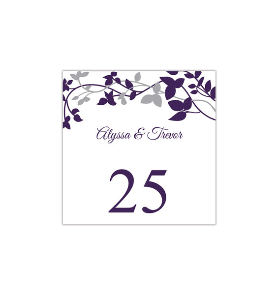 Printable Table Number Template Forever Entwined Eggplant Silver Tent DIY Wedding Templates