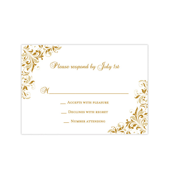 Wedding Response Cards Kaitlyn Gold Champagne Printable DIY Templates