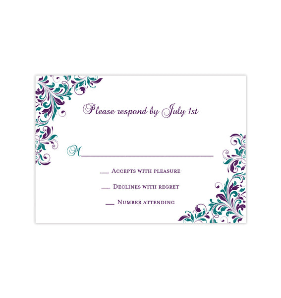 Wedding Response Cards Kaitlyn Peacock Purple Teal Printable DIY Templates