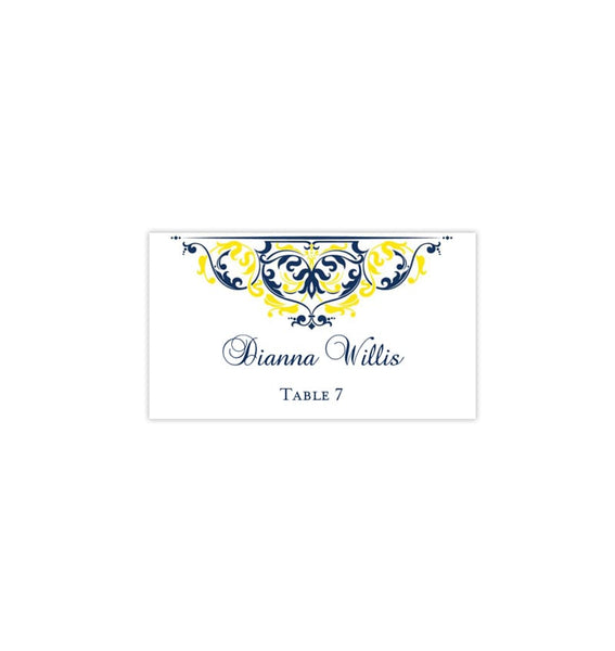 Printable Wedding Place Cards Grace Navy Blue Lemon Yellow Flat DIY Seating