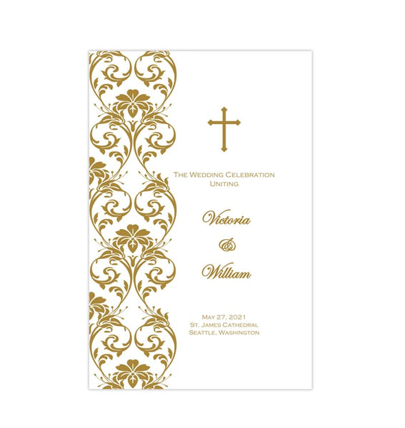 Catholic Church Wedding Program Damask Gold Printable DIY