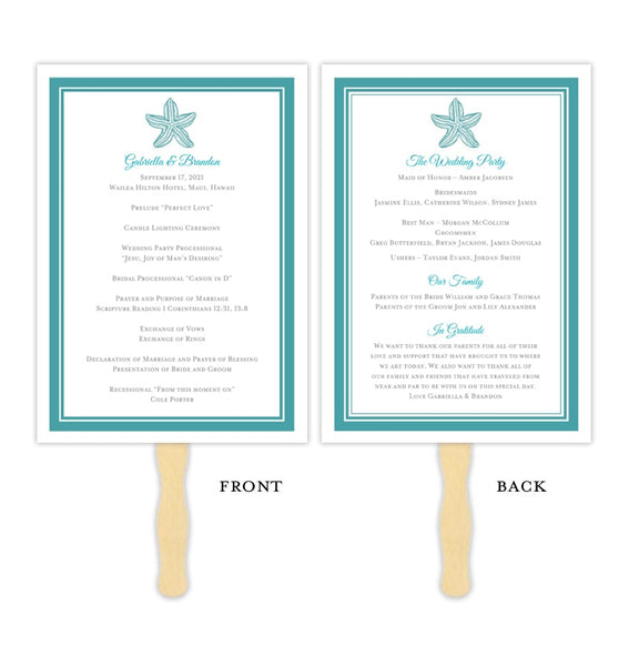Wedding Program Fan Beach Starfish Turquoise Printable DIY Templates