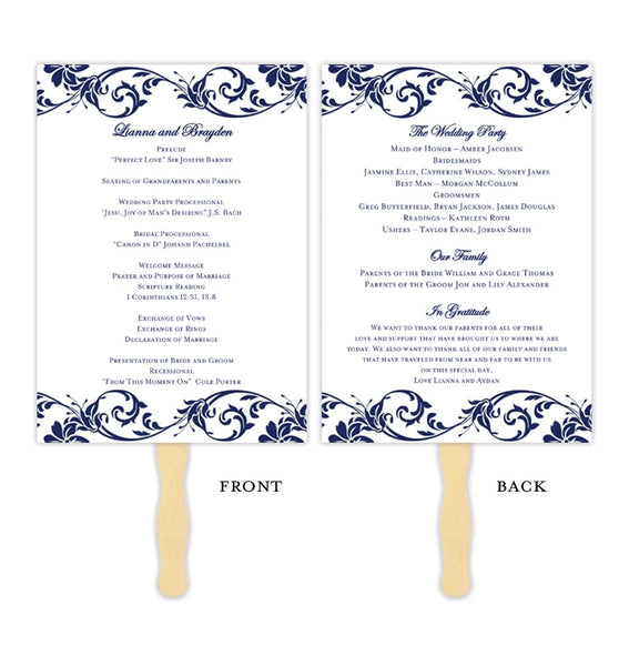 Wedding Program Fan Tropical Damask Navy Blue Printable DIY Templates