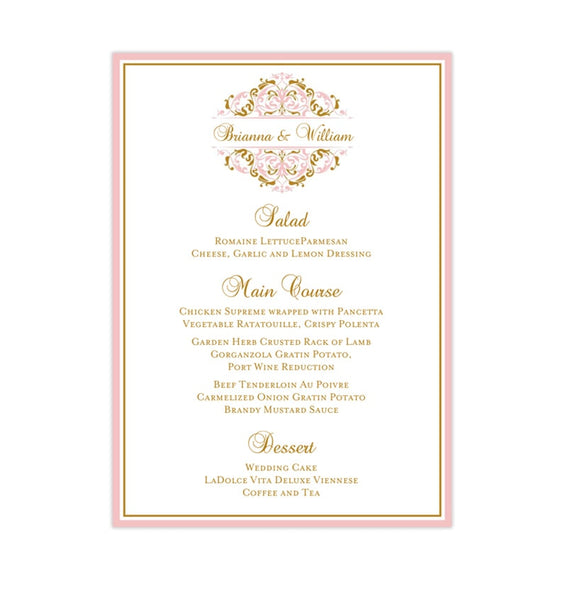 Wedding Reception Menu Template Grace Blush Pink Gold 5x7 Printable DIY
