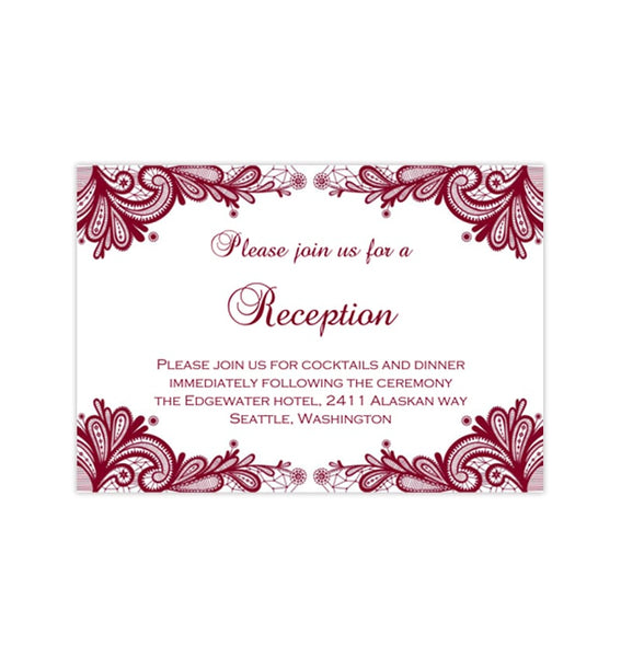 Wedding Reception Invitations Vintage Lace Burgundy Wine Cranberry Printable Templates