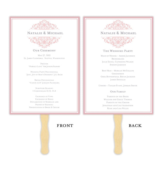 Wedding Program Fan Grace Blush Pink Printable DIY Template