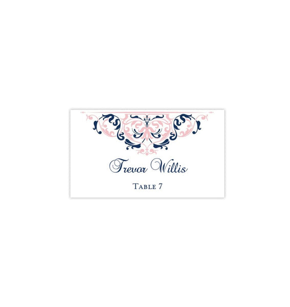 Printable Wedding Place Cards Blush Navy Blue Flat Printable DIY Template