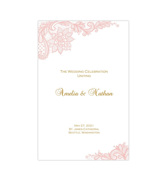 Wedding Program Template Vintage Lace Blush Pink Printable DIY