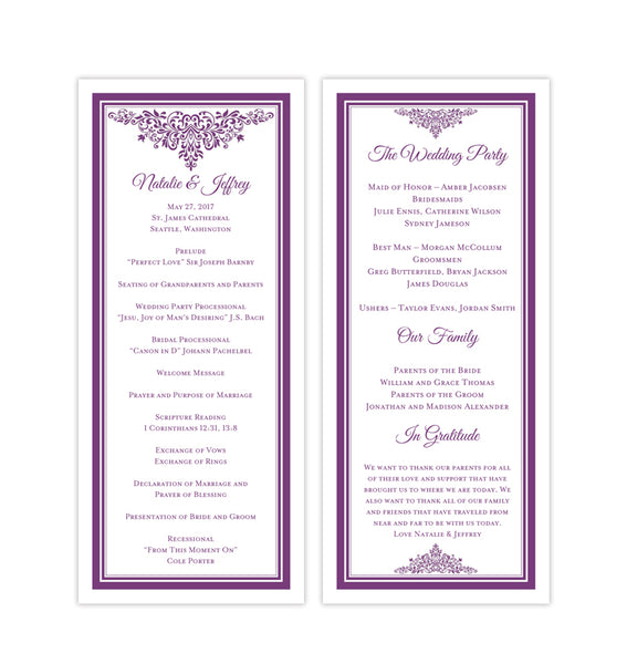 Slim Wedding Program Anna Maria Purple