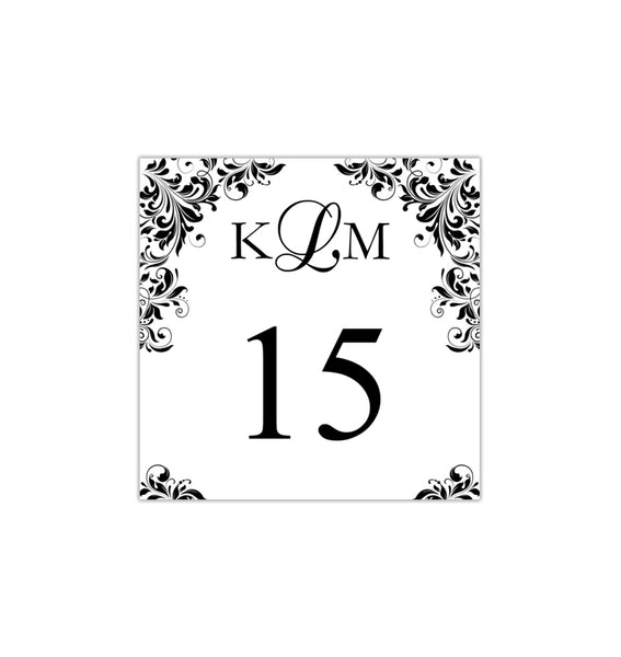 Printable Table Number Template Kaitlyn Black White Tent DIY Wedding Templates