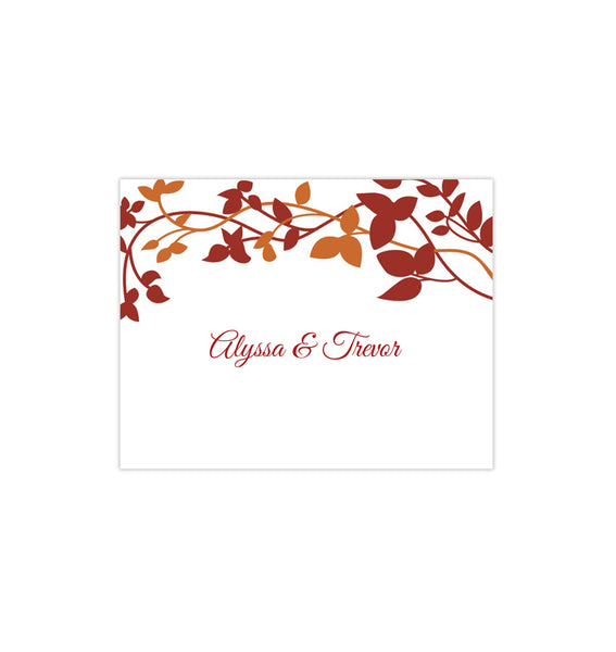 Wedding Thank You Card Forever Entwined Autumn Red Orange Printable DIY Template