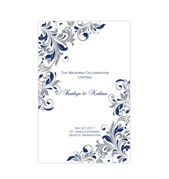 Wedding Program Template Kaitlyn Purple Gray Printable DIY