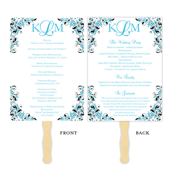 Wedding Program Fan Kaitlyn Malibu Blue Black Monogram Printable DIY Template