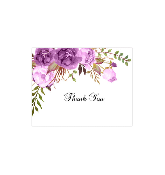 Printable Wedding Thank You Card Purple Romantic Blossoms DIY Template