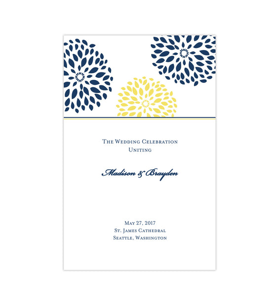 Wedding Program Template Floral Petals Navy Blue Yellow Printable DIY