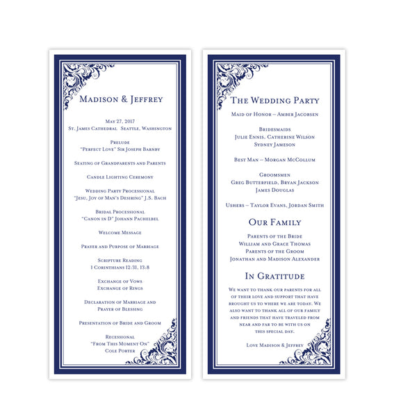 Slim Wedding Program Brooklyn Navy Blue Printable DIY