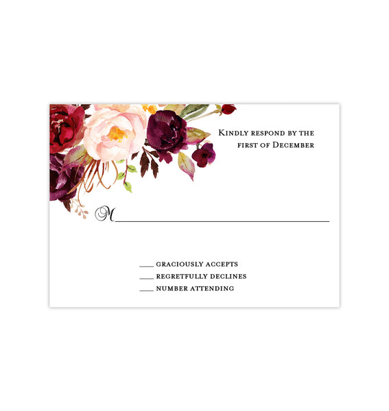 Wedding Response Cards Burgundy, Red, Blush Pink, Marsala Printable DIY Templates