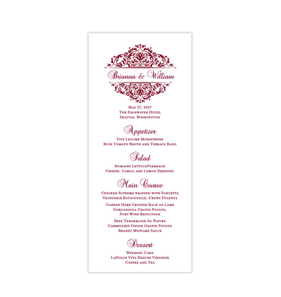 Wedding Menu Card Grace Burgundy Cranberry Wine Tea Length Printable Template
