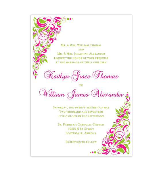 Tropical Gianna Wedding Invitation Fuchsia Pink Lime Green Printable DIY Templates