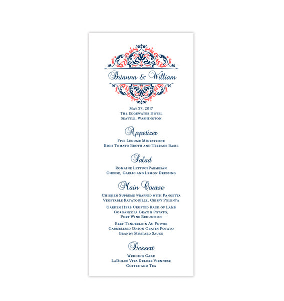 Wedding Menu Card Grace Coral Navy Blue Tea Length Printable DIY Templates