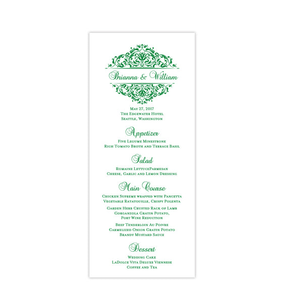 Wedding Menu Card Grace Emerald Irish Green Tea Length Printable DIY Templates