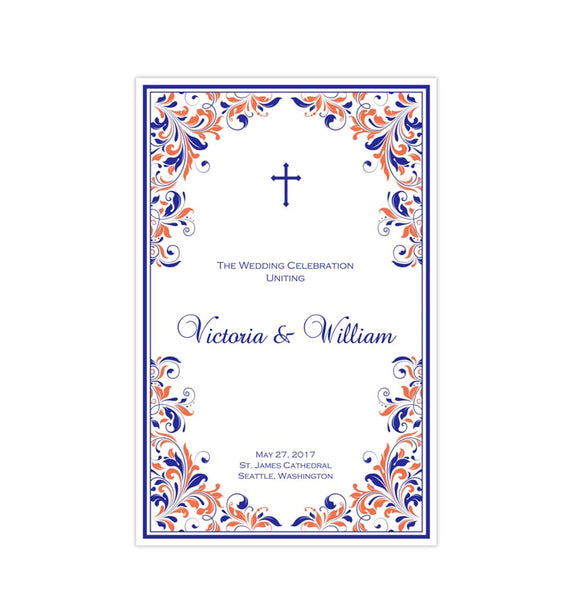 Catholic Church Wedding Program Kaitlyn Royal Blue Light Coral Printable DIY Templates