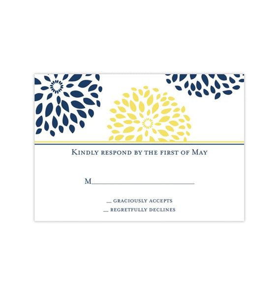 Wedding Response Cards Floral Petals Navy Blue Yellow Printable DIY Templates