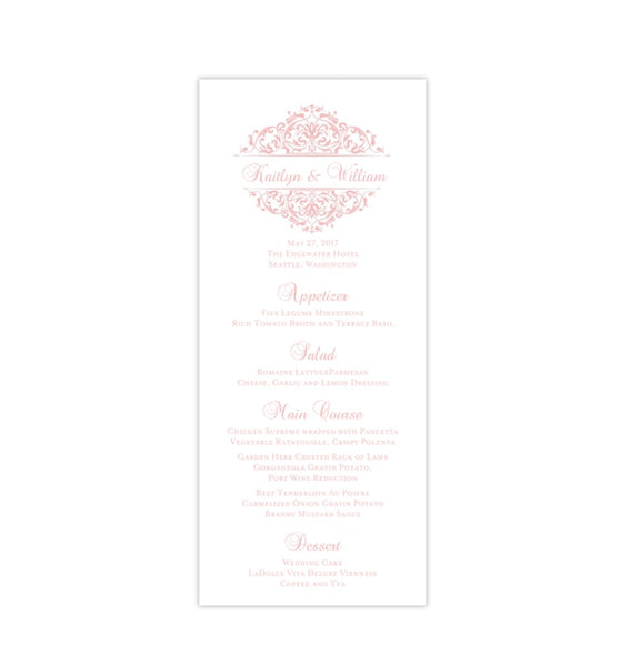 Wedding Menu Card Grace Blush Pink Gray Tea Length Printable DIY TEmplates