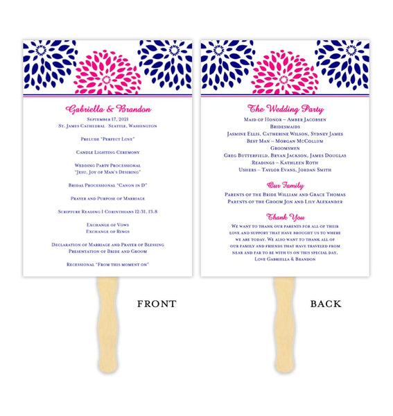 Wedding Program Fan Floral Petals Navy Blue Fuchsia Pink Printable DIY Template