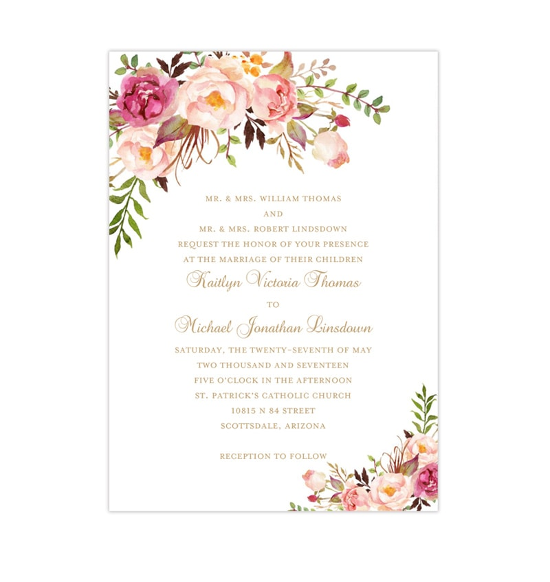 Printable Wedding Invitation Romantic Blossoms Make Your Own Invitations DIY