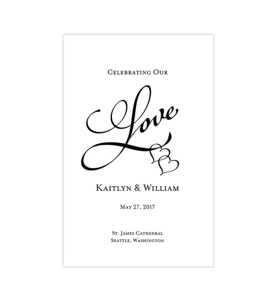Wedding Program Template Two Hearts One Love Black Printable DIY