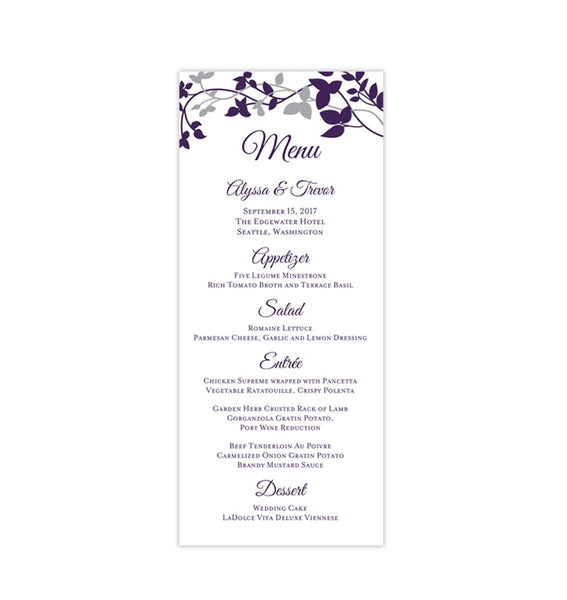 Wedding Menu Card Forever Entwined Eggplant Purple Silver Tea Length Printable Templates