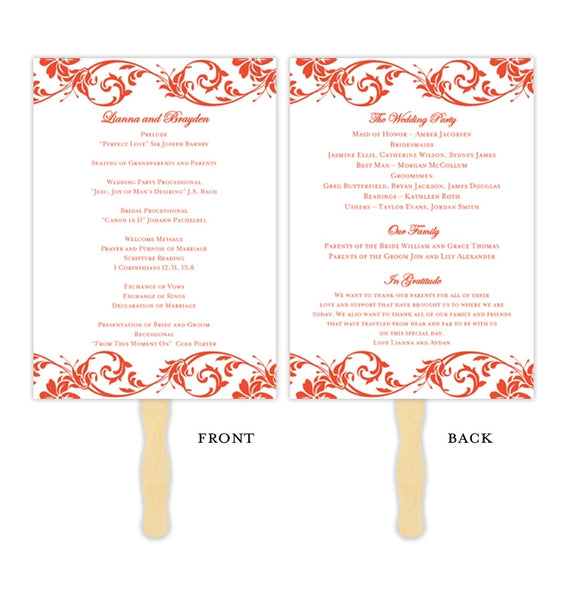 Wedding Program Fan Tropical Damask Coral Printable DIY Template