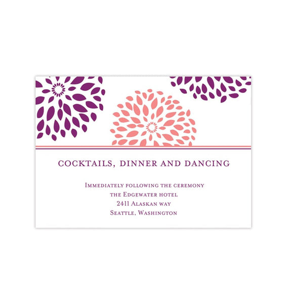 Wedding Reception Invitations Floral Petals Coral Purple Sangria Printable Templates