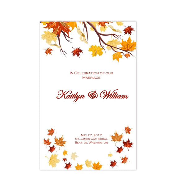 Printable Wedding Program Falling Leaves Autumn Yellow Red Orange Printable DIY